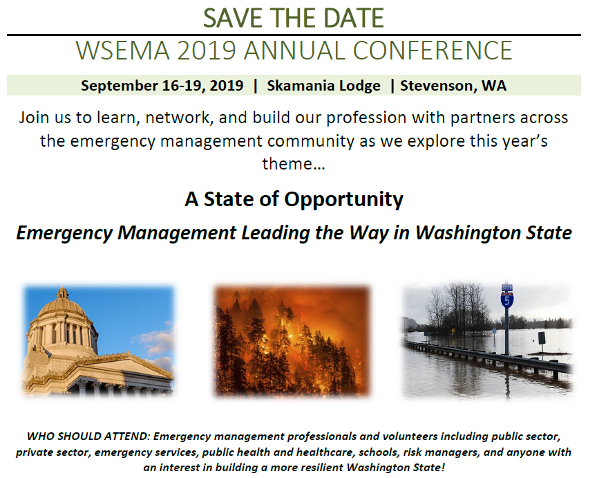 Save the Date for the 2019 WSEMA Conference